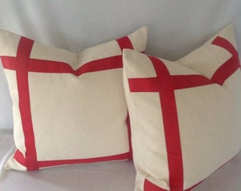 Set of 2: Cream with Red Ribbon Embellished Pillow Cover