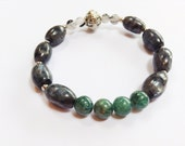 Gemstone color block statement bracelet with black labradorite and green apatite