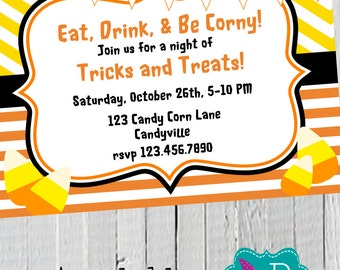 Candy Corn Halloween Party Invitation Printable -4x6 or 5x7