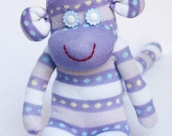 purple sock monkey, stuffed animal, personalized gift - white and purple stripes