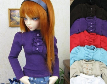 Kawkana - Blouse with Ruffled Sleves and Front for MSD, dollfie, MNF, JID, other 1/4 bjd