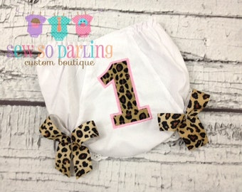 1st Birthday Diaper Cover - Cheetah Print Birthday Baby Bloomers - Baby Girl Bloomers