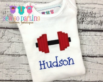 Baby Boy Weight Lifting Shirt - Dumbbell baby boy outfit - weight lifting baby personalized shirt - Weight lifting shirt