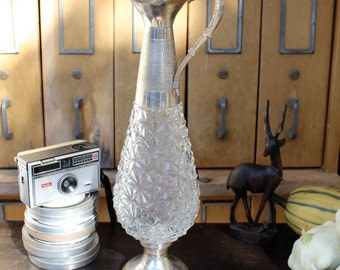 Vintage Glass and Silver Plate Decanter