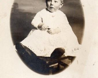 Antique RPPC of Sweet, Nervous-Looking Baby