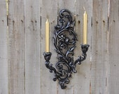 Candle Sconce, Shabby Chic, Vintage, Black, Silver, Candle Holder, Hollywood Regency, Double Sconce, Wall Sconce