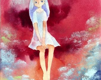 Original Mixed Media Painting F0-size girl illustration  - fantasy illust,paper mounted on wood panel