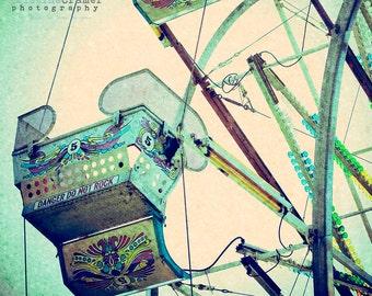 Beach Boardwalk, Carnival , County Fair, Ferris Wheel, California, Summer, Vintage Style Art, Photographic Print, Kristine CramerPhotography