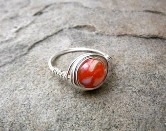 Red Shell Ring, Mother of Pearl Ring, Wire Wrapped Ring, Red Ring, Wire Wrapped Ring, Wire Wrapped Jewelry Handmade, Red Pearl Ring