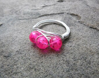 Neon Pink Ring, Cluster Ring, Wire Wrapped Ring, Pink Glass Ring, Pink Bead Ring, Wire Wrapped Jewelry Handmade