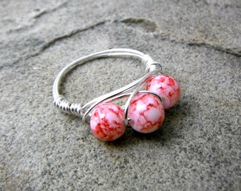 Red Marble Ring, Cluster Ring, Wire Wrapped Ring, Red Glass Ring, Red Bead Ring, Red Ring, Wire Wrapped Jewelry Handmade
