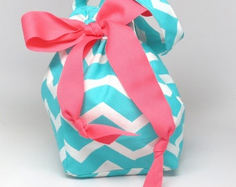 Choice of Size - Turquoise Chevron - Plum Creek Project Bag (B-003)