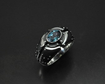 "Sterling Silver Steampunk Ring  ""Piorundum"" 