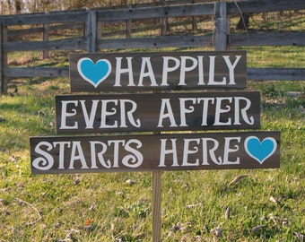 Happily Ever After Wedding Sign, Welcome To Our Wedding Sign, Happily Ever After Starts Here, Wood Arrow Sign, Rustic Country Wedding Sign