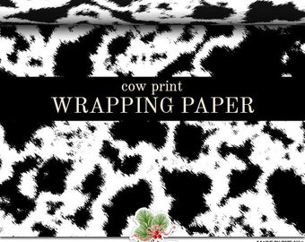Cow Print Wrapping Paper | Custom Black or Brown And White Cow Print Gift Wrap Paper  Roll 9 feet or 18 feet  Great For Any Occasion.