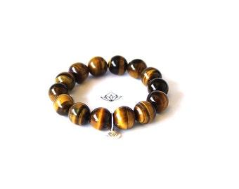 Natural Golden Tiger Eye Beads Stretch Bracelet in 10, 12, or 14mm diameter