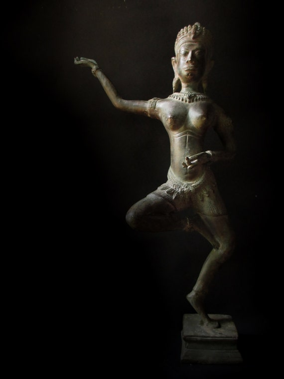 Large Dancing Statue Angkor Wat Style. Bronze Apsara or Celestial Nymph Sculpture from Thailand, Lopburi period (11th to 15th C).