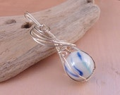Reduced Price Wire Wrapped Blue and White Marble Pendant with Chain and Clasp