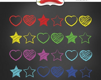 Stars & Hearts - Digital Clipart - Instant Download