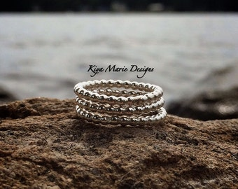 Sterling silver stack ring, fully beaded stackable ring, made to order, bridesmaid gifts, women's jewelry, minimalist rings, simple jewelry