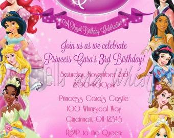 Disney Princess Birthday Invitation Custom Personalized - Digital File