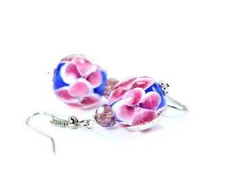 Blue Lampwork Earrings, Flower Earrings, Pink Flower Earrings, Pink Lampwork Beads, Lampwork Beads, Glass Bead Earrings, Beaded Earrings