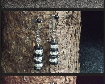 Handmade Genuine Hematite Discs & Crystal Clear Colored Rhinestone Rondelle Spacers Stainless Steel Earrings in 10 Different Colors