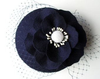 Navy Fascinator - Navy Hat, Wedding Hat, Wedding Fascinator, Wool Felt Hat, Felt Fascinator, Poppy, Cocktail Hat, Vintage Hat, 50s Style