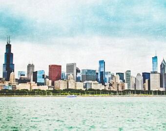 """Chicago Art, Chicago Panoramic, Chicago Skyline, Lake Michigan, Chicago Wall Art, Chicago Wall Decor, Urban Chicago - """"Chicago Skyline"""""""