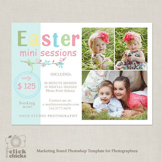 Items similar to easter spring mini session template marketing board for photographers 050 for Free mini session templates for photography