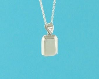 sterling silver locket pendant - 3pcs - rectangular locket - square keepsake locket charm - silver box locket - square sterling pendant