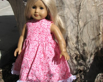 Pink Floral Summer Dress for 18 inch doll with lace hem