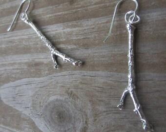 Silver Twig Earrings, Stick Earrings, Long Silver Earrings, Botanical Jewelry