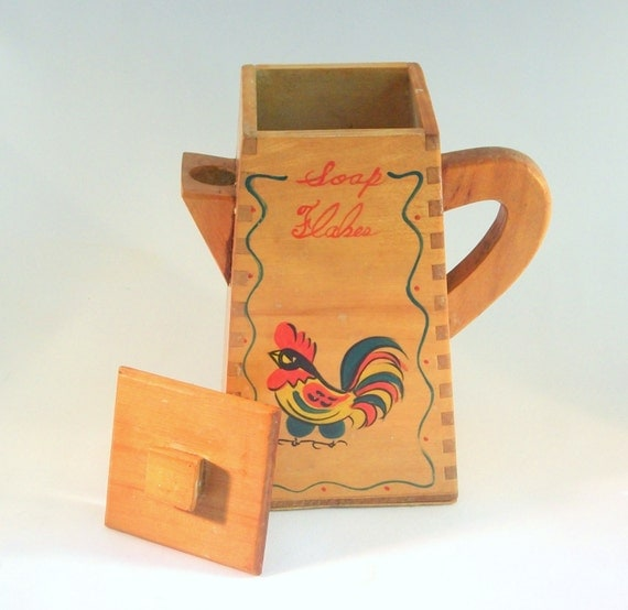 Antique soap flakes pitcher 1940 39 s dovetailed wood soap - Soap flakes dispenser where to buy ...