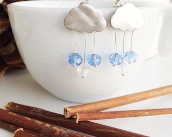 Rain Cloud Earrings, Cloud Earrings, Silver Earrings, Storm Earrings, Drop Earrings, Dangle Earrings,Bridal Jewelry