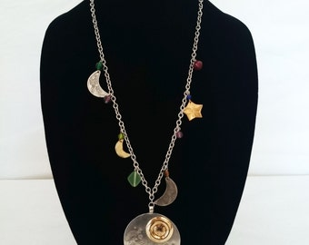 80s-90s Handmade Moon and Stars Necklace