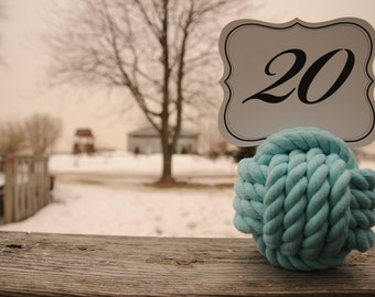 Nautical Wedding - Wedding Knots - Table Number Holders - Aqua Cotton Rope Knots - Nautical Decor - (this is for 15 knots)
