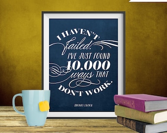 Thomas Edison Quote Print, Printable art wall decor, Inspirational quote poster - Instant Download