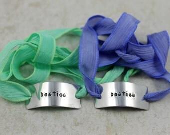 Besties Silk Wrap Set / Besties Bracelet Set / Best Friend Gift / Custom Silk Wrap / Custom Hand Stamped Bracelet / Couples Bracelet