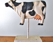 Vintage Wooden COW Figure on Stand/ Primitive Country Decor/ 3D Painted Wood Cow