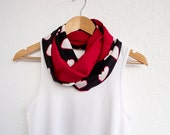 Two Sided Hearts Scarf Black White Red Reversible Infinity Circle Scarf  Women Accessories, Valentines Day - designscope
