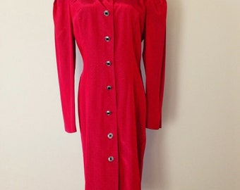 Red Vintage 80's Long Sleeve Dress by All That Jazz Size 11/12