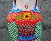 Nancy - mixed-media embroidered matryoska doll