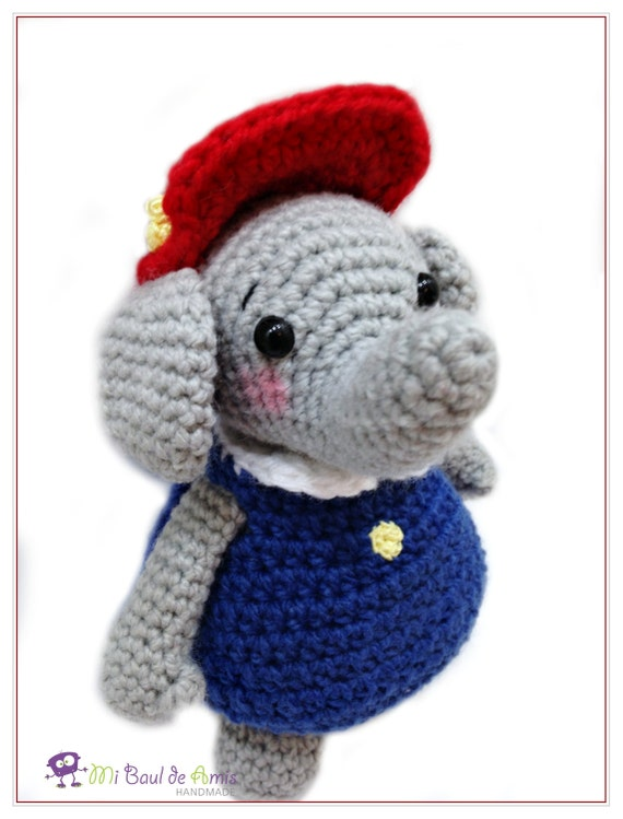 Ella The Elephant Free Crochet Pattern : Crochet Elephant Doll Red Hat Blue Dress Ella Elephant