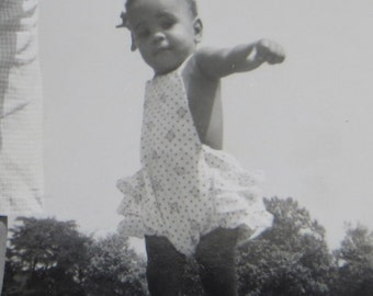 Land Of The Giants - Cute 1950's African American Black Mother and Baby Tower Over The Trees Snapshot Photo - Free Shipping