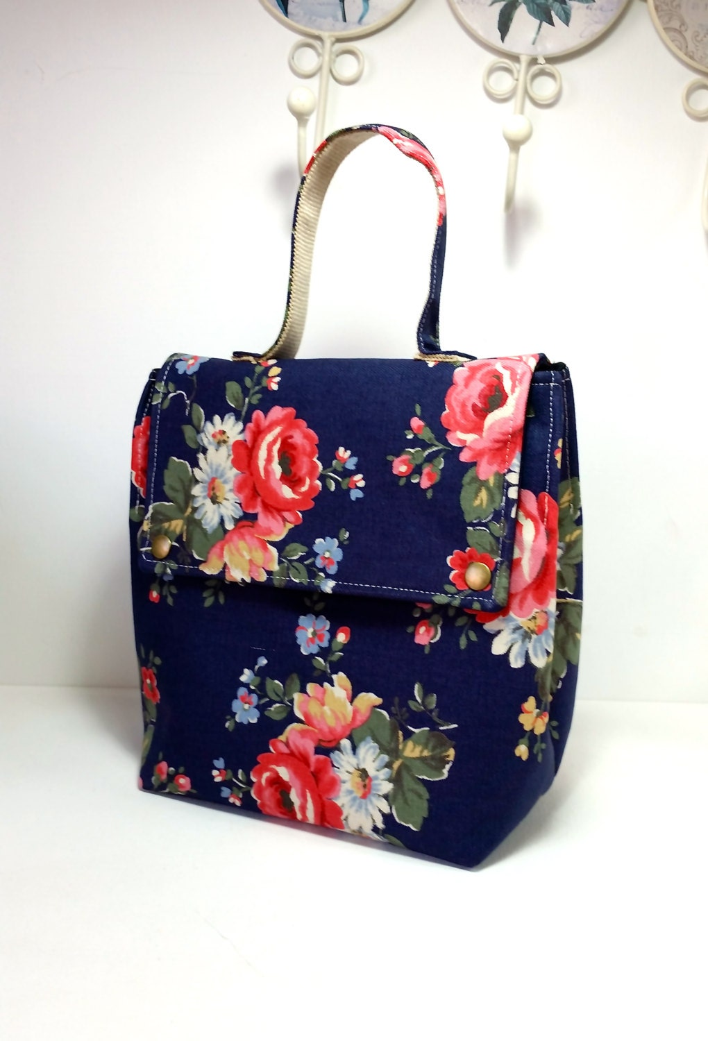 Insulated Lunch Bag Fabric Lunch Bag Dark Blue Floral Prints
