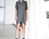 Short Dress/ Gray Tunic Top/ Loose Gray Tunic/ Drape Top/ Short Sleeves Tunic Top by Arya Sense/ DVSH14NG