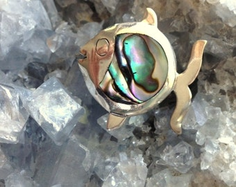 Abalone Fish Pin/Brooch - Vintage Sterling Silver Stamped and Signed Taxco