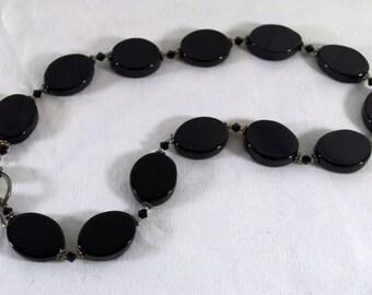 Onyx and Silver, Chocker Necklace. Flat Large Onyx Beads.