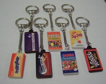 sweetie keyrings, skittles, tooty frooties, bournville, liquorice allsorts, jelly tots, jelly babies, jelly belly!!